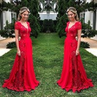 elegant red plus size arabic formal prom dresses evening wea...