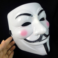 White V Vendetta Mask Guy Faws PVC Mask Anonymous Halloween Horror Cosplay Disfraz Masquerade Party Supplies