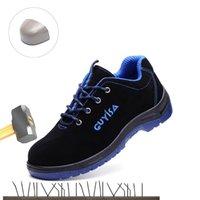 2019 de nariz de acero zapatos de trabajo de seguridad de los nuevos hombres Anti-sensacional antipinchazo de cuero de vaca resistente al desgaste zapatos cómodos industriales