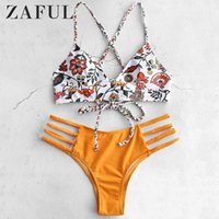 ZAFUL Low Waist Vacanze Criss Cross Bikini Set Lace Up Reggiseno e slip Sexy Elastic Wire Free Swimwear Fiore intrecciato imbottito