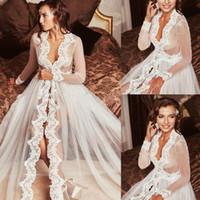 2020 Seksi Yeni Kadın Düğün Cloak Ceket Beyaz Fildişi Uzun Tül Gelin Dantel Aplikler Kenar Cape sarar Custom Made Ceketler
