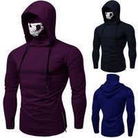 Mens Sweatshirt Hoodies Mask Skull Pure Color Pullover Long Sleeve Hooded Sweatshirt Tops Blouse Sudadera Hombre Mens Hoodies Bogis