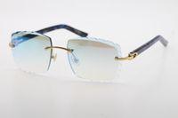Fabriks grossistförsäljning Rimless Solglasögon Optisk 3524012-A Original Marble Blue Plank Högkvalitativa snidade Lense Glass Unisex Glasögon