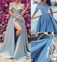 Prenses Kapalı Omuz Abiye Uzun 2020 Gök Mavisi Şık Abiye Giyim Saten Elbise Robe De Soriee