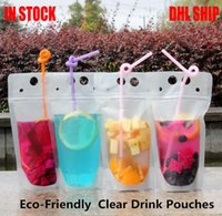 DHL Ship 100pcs Clear Drink Pouches Bags frosted Zipper Stan...