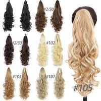 22inches Синтетический Женщины Коготь на Ponytail клип в наращивание волос Curly Стиль конский хвост шиньон Черный Коричневый Белый причесок