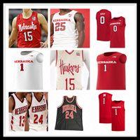 Personalizzato NCAA College Nebraska CornHuskers Maglie da basket Uomo Thorir Thorbjarnarson Haanif Cheatham Yvan Ouedraogo Charlie Easley AROP