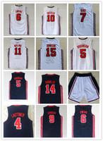 Vintag College 1992 Rüya Ekibi Basketbol 12 John Stockton Jersey 4 Christian Laettner 11 Karl Malone 13 Chris Mullin Johnson Formalar