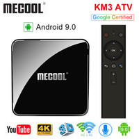 MECOOL KM3 ATV Androidtv 9.0 Google معتمد Android 9.0 TV Box 4GB 64GB Amlogic S905X2 4K 2.4G 5G Dual Wifi BT4.0 Set Top Box