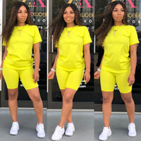 Caliente color sólido de 2 piezas traje de las mujeres del verano de manga corta casuales impresión delgada camisetas Bodycon del mono de los mamelucos cortos Set S-XXL