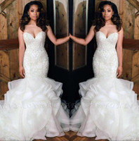 African New Strapless Organza Mermaid Wedding Dresses 2020 B...