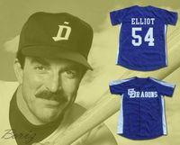 Minanser Chunichi Dragons Jack Elliot Mr. Baseball Movi Jersey 54 Mens All Stitched Jerseys Navy Blue White S-3XL 무료 배송