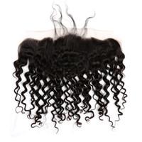 Fermeture des vagues bouclées 13 * 4 Ear earce -ear dentelle frontale brésilienne extensions de cheveux humains bella produits