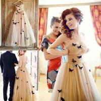 Gorgeous Strapless Prom Dresses 2019 Sweetheart Tulle Ruched Butterfly Appliques Aftonklänning Robes de Soirée Billiga Cocktailklänningar