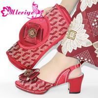 Mode Nigerian Schuhe und passende Tasche Set verziert mit Strass italienischen Schuhe und Tasche Set für die Partei im Frauen-Absatz-Schuhe
