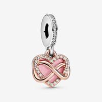 Yeni Varış 925 Ayar Gümüş Köpüklü Infinity Kalp Dangle Charm Fit Orijinal Avrupa Charm Bilezik Moda Takı Aksesuarları