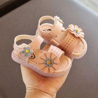 2020 أحذية الصيف طفلة الصنادل زهرة منقوشة الأميرة طفل الصنادل فتاة شقة لينة وحيد عدم الانزلاق الرضع أحذية الوردي 15-25 #
