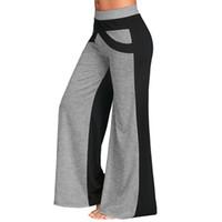 Lortalen Geniş Bacak Pantolon Renk Bloğu Ile Nedensel Gevşek Düz Düz Pantolon Uzun Kadın Pantolon Kadın Pantolon Geniş Bacaklı Pantolon Y19070301