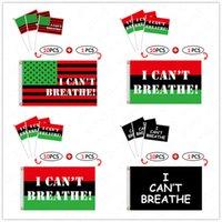 11 stks / partij Americana Banners en Handsignaal Vlag Sets 1big + 10Small Letters Gedrukt Ik kan niet ademen Flag New Design Parade vlaggen D6413