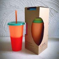 Kunststoff Temperatur die Farbe wechseln Cups Bunte Kaltwasserfarbwechsel Kaffeetasse Wasser-Flaschen mit Strohhalmen 5pcs / set LJJO7994
