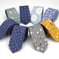 Новые мужские цветочные галстуки для мужчин Повседневный хлопок Тонкий галстук Gravata Узкие свадебные бизнес-галстуки Новый дизайн Мужские галстуки