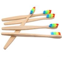 Ahşap Gökkuşağı Diş Fırçası-Bambu Çevre Diş Fırçası Bambu Elyaf Ahşap Saplı Diş Fırçası Beyazlatma-Gökkuşağı