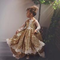 반짝 골드 스팽글 얇은 긴 소매 꽃 Gilr 드레스 Appliqued 공주 생일 Patry 가운 소녀 포르 선발 대회 드레스 F018