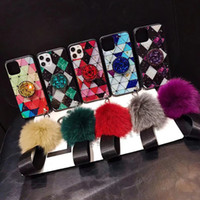 Bling Epoxy Fur Ball Lanyard Stand Case For iPhone 11 Pro Max XS XR X 8 7 6 Samsung S10 Plus S10e Note 9 10 10+ A10 A20 A30 A50 A70 A80 A60