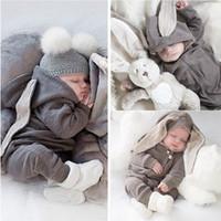 Baby-Mädchen-Strampler netten Karikatur-Kaninchen-Fest-Rosa-Grau-Blau mit Kapuze Spielanzug Warm Herbst Frühling Jumpsuits 0-18 Monate