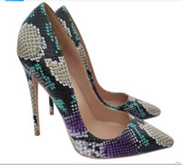 2019 new purple serpentine printing fine heel high- heeled sh...
