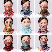 Tüll Seidenschals Frauen Pareo Sarong Sonnencreme Wraps Sommer Floral Gesichtsmaske Turban Strand Mode Fahren Schal Sea Chiffon Halstuch B5142