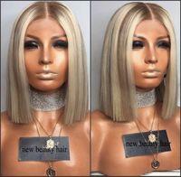 Parte media profunda Raíces marrones Rubio ombre Corto pelucas delanteras llenas del cordón Peluca brasileña sintética resistente al calor del cabello para mujeres blancas / negras