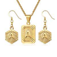 ad08edf69 Letra inicial A Z Conjunto De Jóias Para As Mulheres Colar De Pingente De  Caixa De Ouro Balançando Brincos Conjunto Mulher Acessórios Presentes  Criativo ...