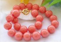 New Genuine 8mm South Sea Coral Round Beads Necklace 18inch