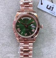 야외 자동 기계식 시계 시계 40MM 올리브 그린 다이얼, 고정 홈 붙이 베젤 및 로즈 골드 스테인레스 스틸 팔찌