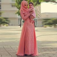 Vestidos de noche de coral de encaje de gasa musulmanes Largo 2020 vestido de noche con hijab abiye Abendkleider Dubai con falda de Detachbale