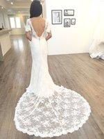 Mermaid Full Lace Boho Wedding Dresses Bridal Gowns Long Train V Neck Short Sleeve Bohemian Vestidos De Noiva Custom Size 2022 Spring Charming