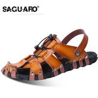 SAGUARO Мужские сандалии из натуральной кожи Fashion Gladiator Summer Beach Slippers Slip On Вьетнамки Мужская обувь Zapatos Sandalias Hombre