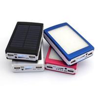 Wholesale -New 20000 مللي أمتار ميلادي وتخفيف ضوء البطارية لوحة شاحن خارجي المزدوج 20000 مللي أمبير منافذ شحن الطاقة الشمسية 5 ألوان اختيار ل