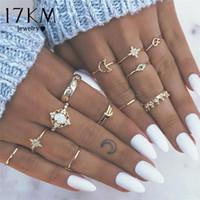 17KM 8 set di anelli vintage con stelle dorate a forma di luna per le donne BOHO Opal Crystal Midi Finger Ring 2019 Regali di gioielli femminili della Boemia