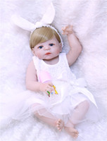 55cm New Full Body Silicone Reborn Baby Doll white angel dre...
