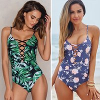 Sexy Deep V One Piece Swimsuit Leaves Print Swimwear Push Up...