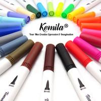 24 Renkler Sanat İşaretleyiciler Çift İpuçları Boyama Fırçası Fineliner Renk Kalemler Suluboya Marker Kaligrafi Çizim Eskiz Boyama Kitabı