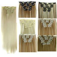6 pçs / ajuste clipe em extensões de cabelo pedaços sintéticos de cabelo reto 24 polegadas 140g clip em extensões de cabelo Mais cores