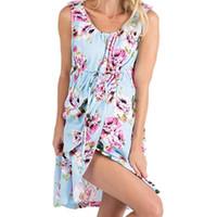 Neue schwangere Frauen Sleevelee Midi-Kleider Beiläufiges Blumenumstandskleid Kleidung Nighdress Nachtwäsche