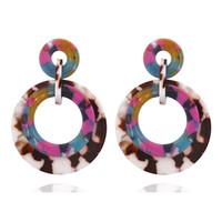 Renkli Akrilik Büyük Yuvarlak Damla Küpe Kadın Kızlar Trendy Granit Pıtırtı Geometri Bildirimi Dangle Küpe Takı Ucuz Toptan