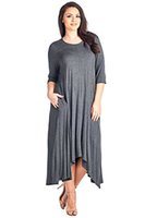 12 Ami Plus Size Solid 3 4 Sleeve Pocket Loose Maxi Dress - ...