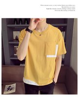 Short Sleeve T-Shirt mit Rundhalsausschnitt Sommer beiläufige Tees Mode Homme Designer-Kleidung der Männer Kontrast Colorblock