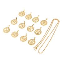 12 Stücke Zwölf Konstellationen Halsketten für Frauen Mädchen Gold Farbe Zwölf Horoskop Sternzeichen Schmuck Geschenk