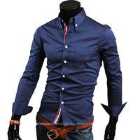 Camisetas para hombre Casual Nueva moda Negocio Casual Slim Fit Camisetas de manga de longitud para hombre Camisas para hombre Camisas Ocio 5 Colores M-3XL